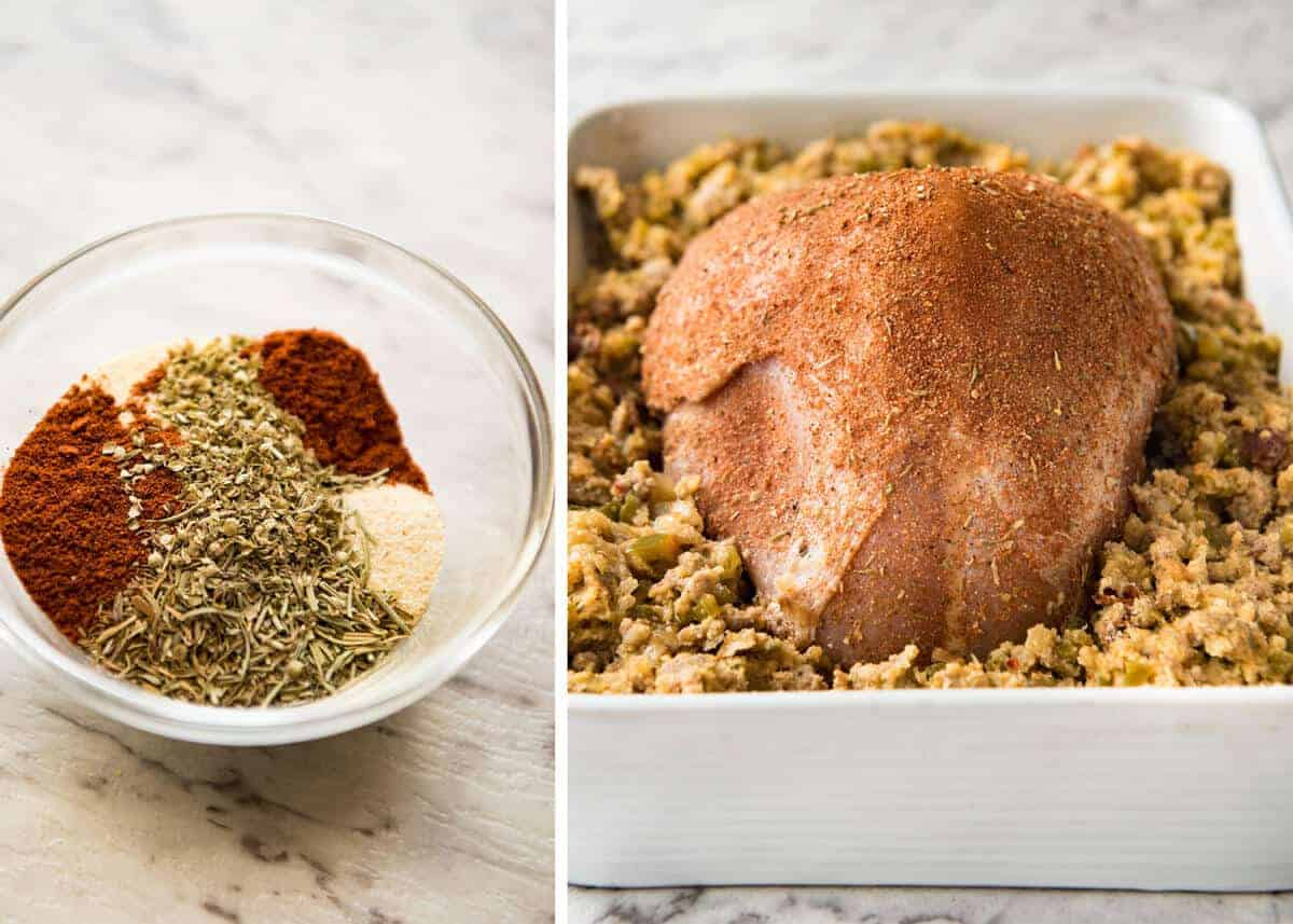 This Cajun dry brined turkey breast is baked in the same roasting pan as the Dressing / Stuffing so it's extra juicy and moist! A chef recipe, this Cajun Baked Turkey Breast with Dressing is easy and spectacular. EPIC ONE PAN COOKING for a Thanksgiving turkey! recipetineats.com