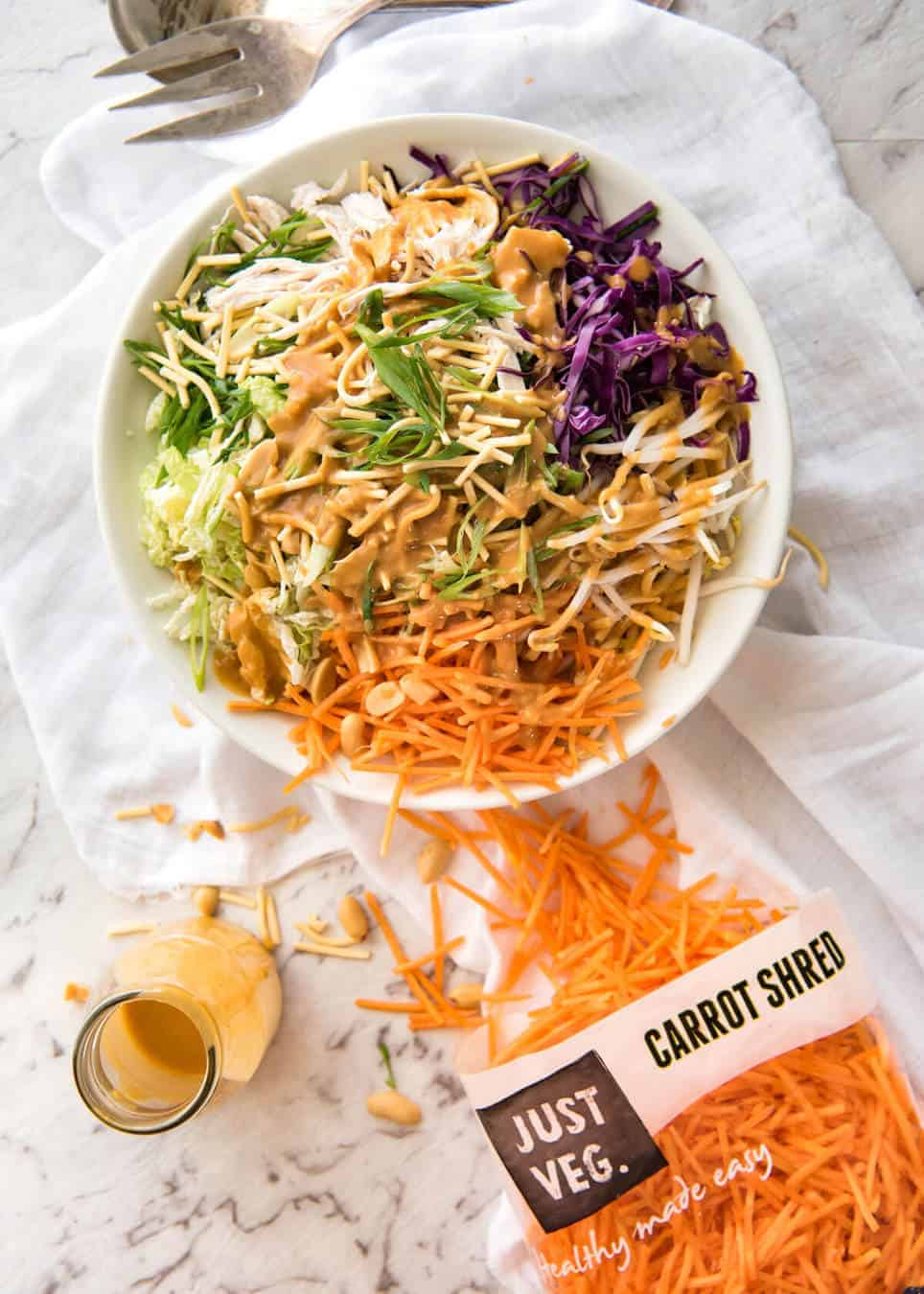 Chinese chicken salad with asian peanut salad dressing recipetin eats chinese chicken salad with asian peanut salad dressing made with cabbage shredded chicken forumfinder Choice Image
