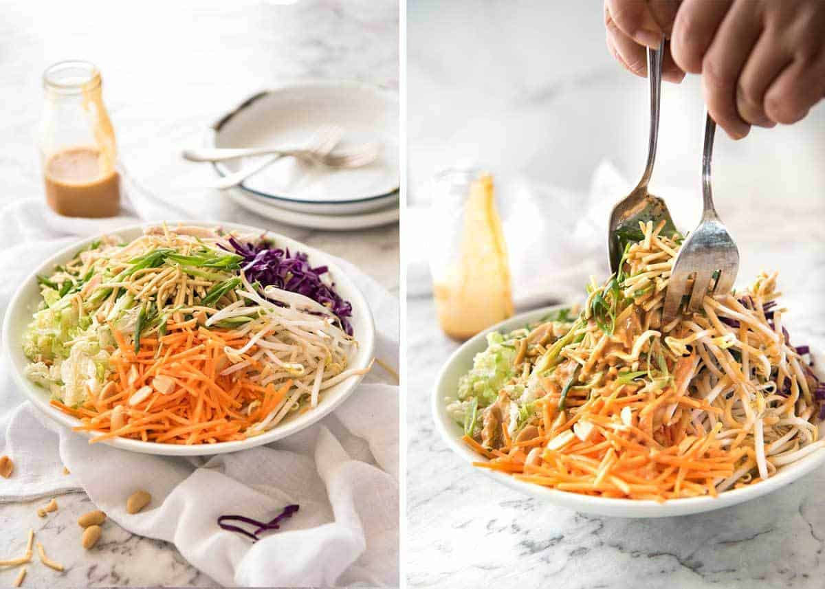 Chinese Chicken Salad with Asian Peanut Salad Dressing - made with cabbage, shredded chicken, crunchy noodles, carrot and a killer peanut dressing! www.recipetineats.com