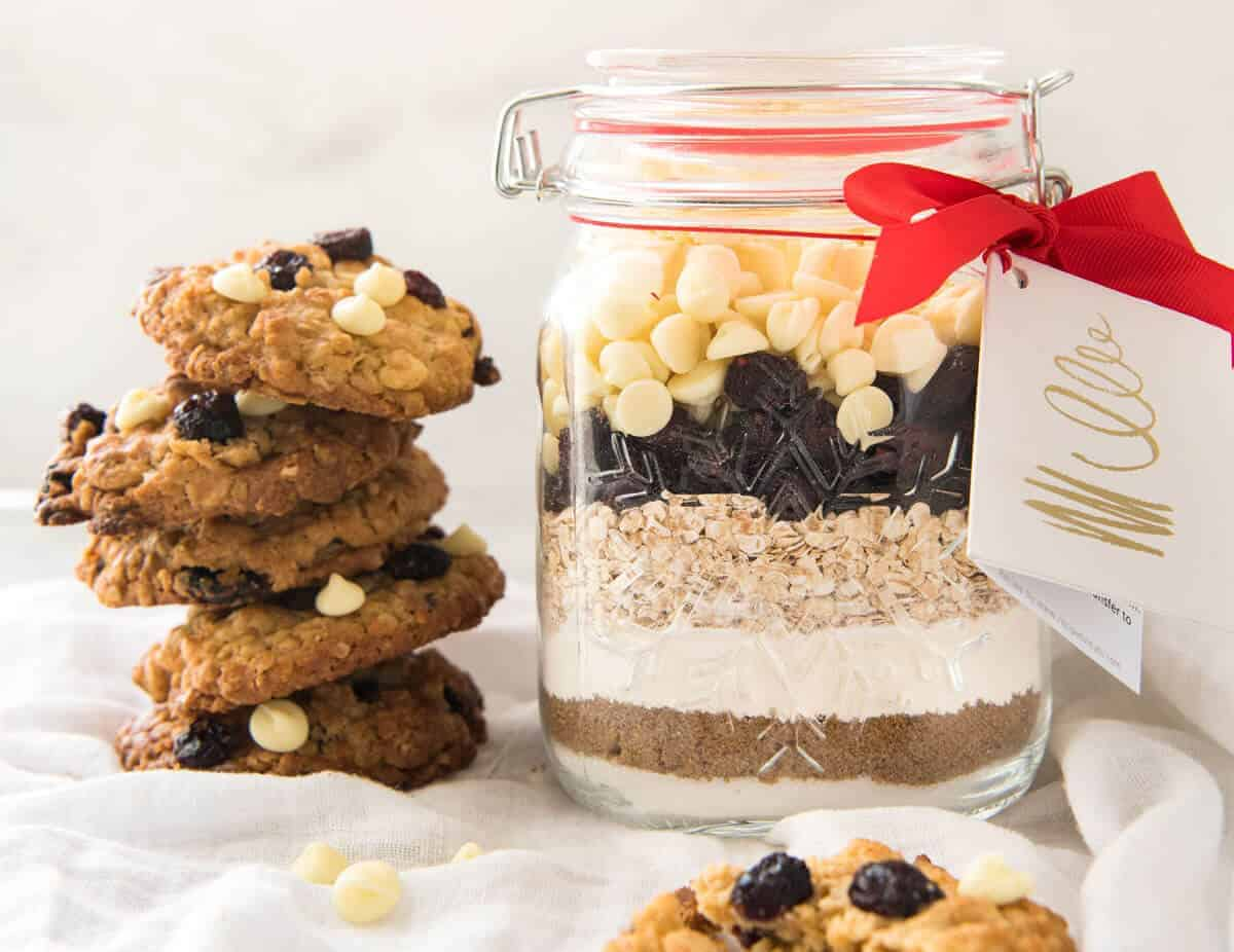 Cookie Mix In a Jar: White Chocolate Cranberry Cookies | RecipeTin Eats