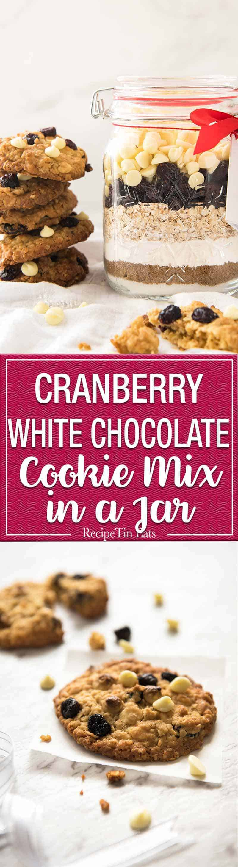 Cookie Mix in a Jar - White Chocolate Cranberry Cookies: Fantastic Christmas gift in a mason jar, just add melted butter and an egg, no beater required! www.recipetineats.com