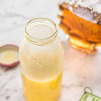 Maple Syrup Dressing made with maple syrup, cider vinegar, olive oil and mustard. Pairs especially well with roasted vegetable salads in a small bottle.