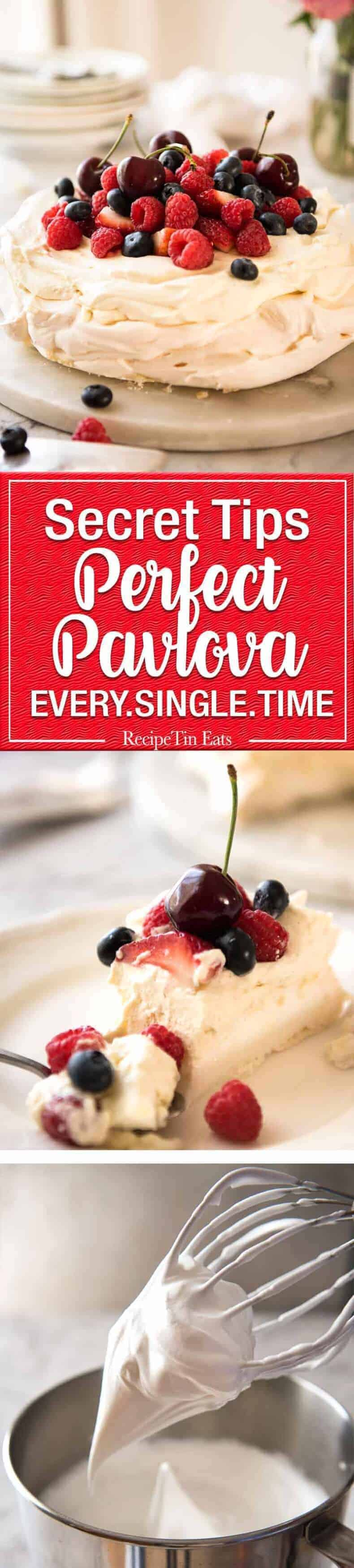 Classic Pavlova recipe with easy to follow tips that make all the difference for a perfect Pav, every time! recipetineats.com