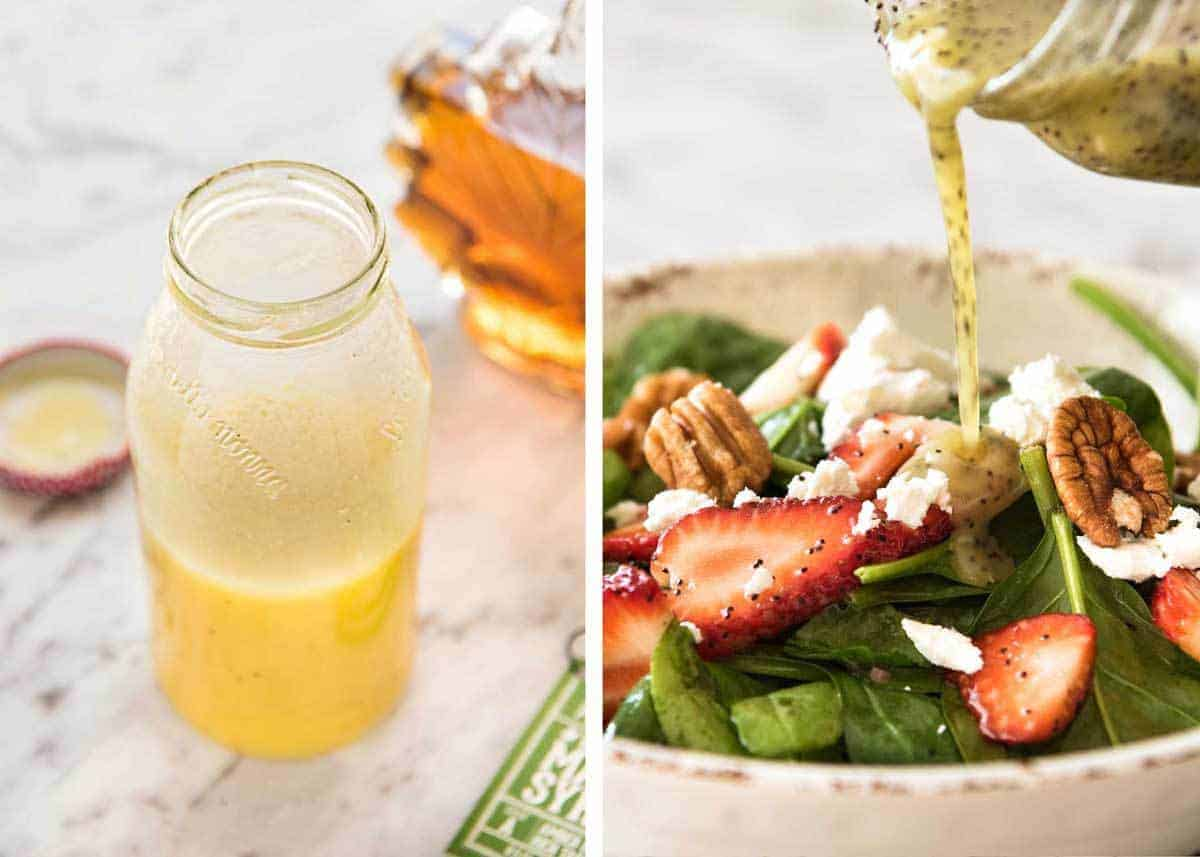 Easy Salad Dressing Recipes - Long Shelf Life, Ready To Use - Poppyseed Salad Dressing and Maple Salad Dressing www.recipetineats.com