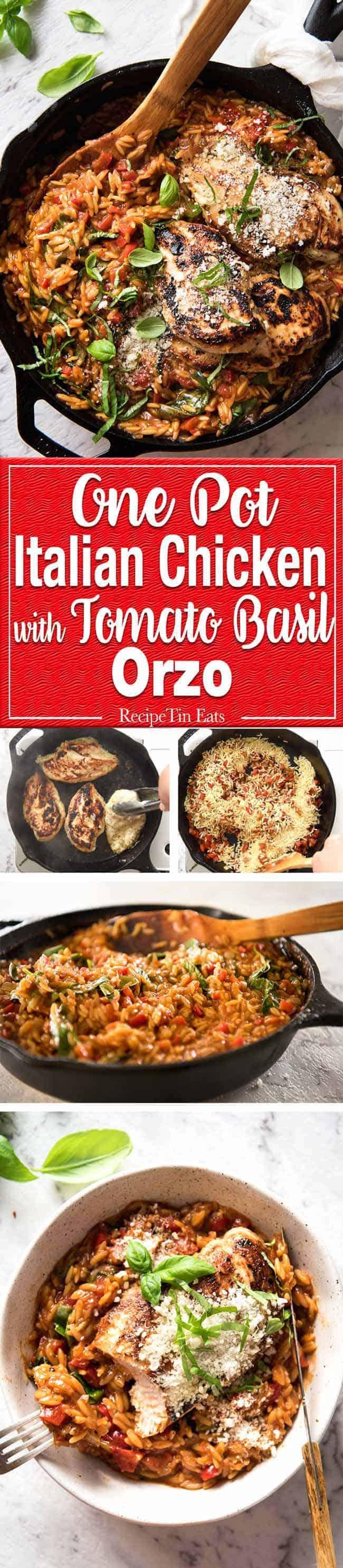 Risoni Pasta Recipe with Chicken - Italian Chicken with a tomato basil risoni pasta recipe, all made in one pot! Quick, super tasty 30 minute meal. www.recipetineats.com