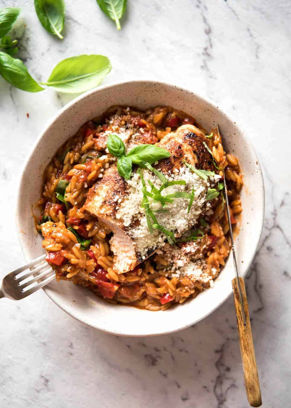 One pot italian chicken orzo risoni pasta recipetin eats risoni pasta recipe with chicken italian chicken with a tomato basil risoni pasta recipe forumfinder