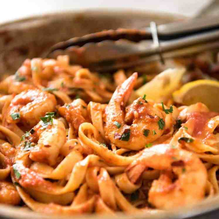 Spicy Chilli Prawn Pasta (Shrimp) - A super quick 15 minute meal with a secret ingredient that makes all the difference! recipetineats.com