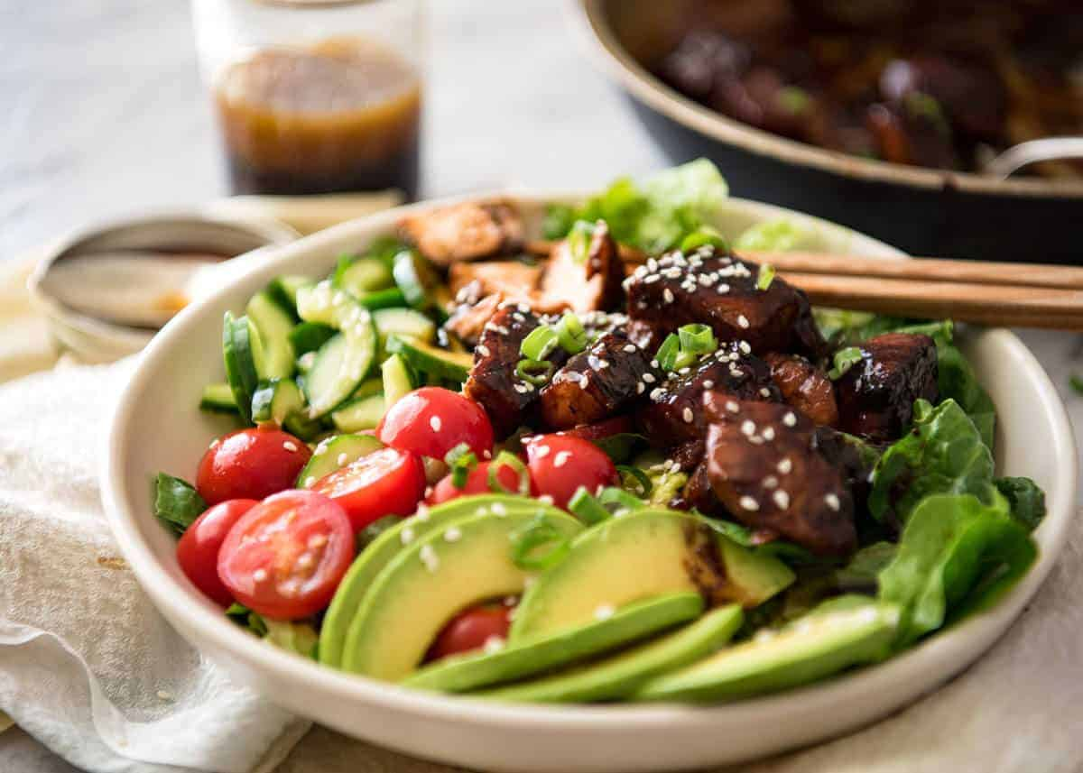 Asian Salmon Salad - Salmon dripping in a gorgeous Asian glaze on a fresh, vibrant salad drizzled with sesame dressing. Quick to make, packed with serious flavour! recipetineats.com
