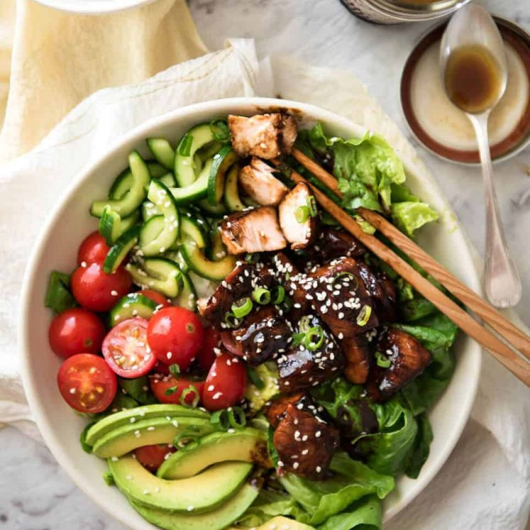 Asian Salmon Salad - Salmon dripping in a gorgeous Asian glaze on a fresh, vibrant salad drizzled with sesame dressing. Quick to make, packed with serious flavour! www.recipetineats.com