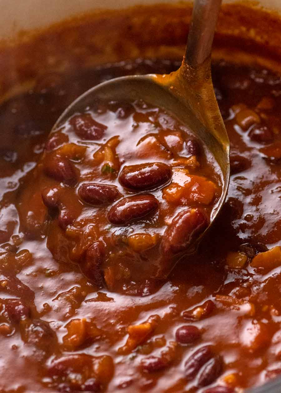 Close up of pot with Southern Baked Beans with Bacon