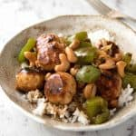 This Chinese Cashew Chicken Meatball recipe is everything you know and love about Cashew Chicken...made with meatballs! www.recipetineats.com