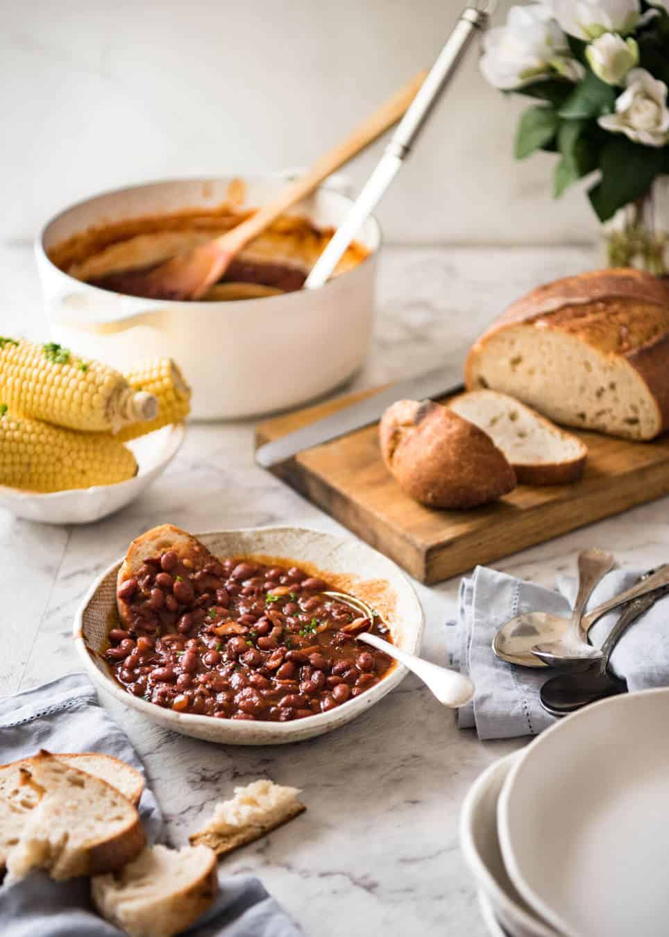 Homemade Baked Beans with Bacon - Thick, rich, luscious sauce with a perfect balance of sweet, tang and plenty of savoury! www.recipetineats.com