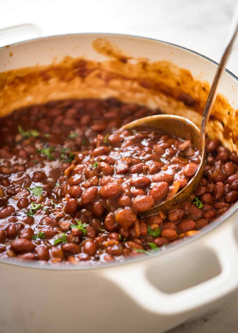 homemade baked beans with bacon thick rich luscious sauce with a perfect balance - Ina Garten Baked Bacon