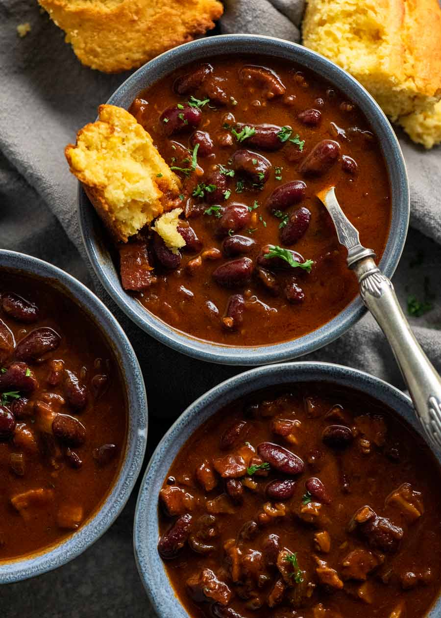 3 bowls of Southern Baked Beans with Bacon