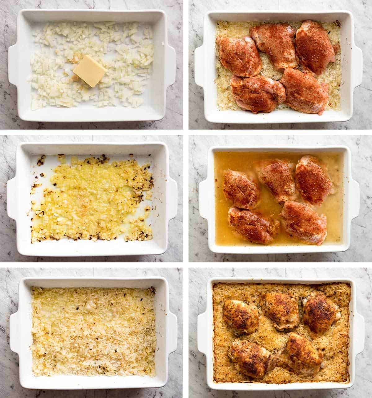 Oven Baked Chicken and Rice made in one pan, no stove. The step that makes all the difference is baking butter and onion before adding rice, liquid and the chicken. The rice is outrageously delicious! www.recipetineats.com