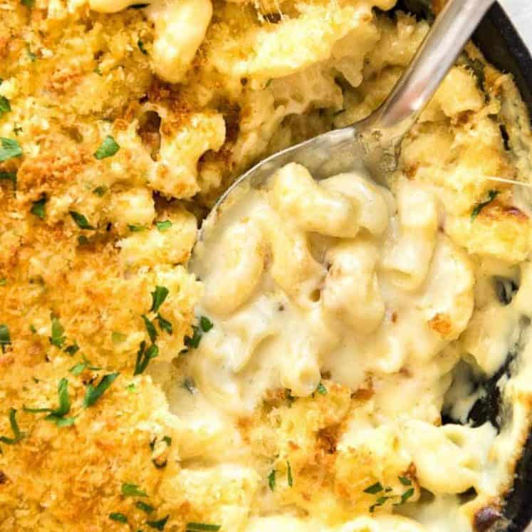 Overhead photo of Baked Mac and Cheese in a skillet, fresh out of the oven.