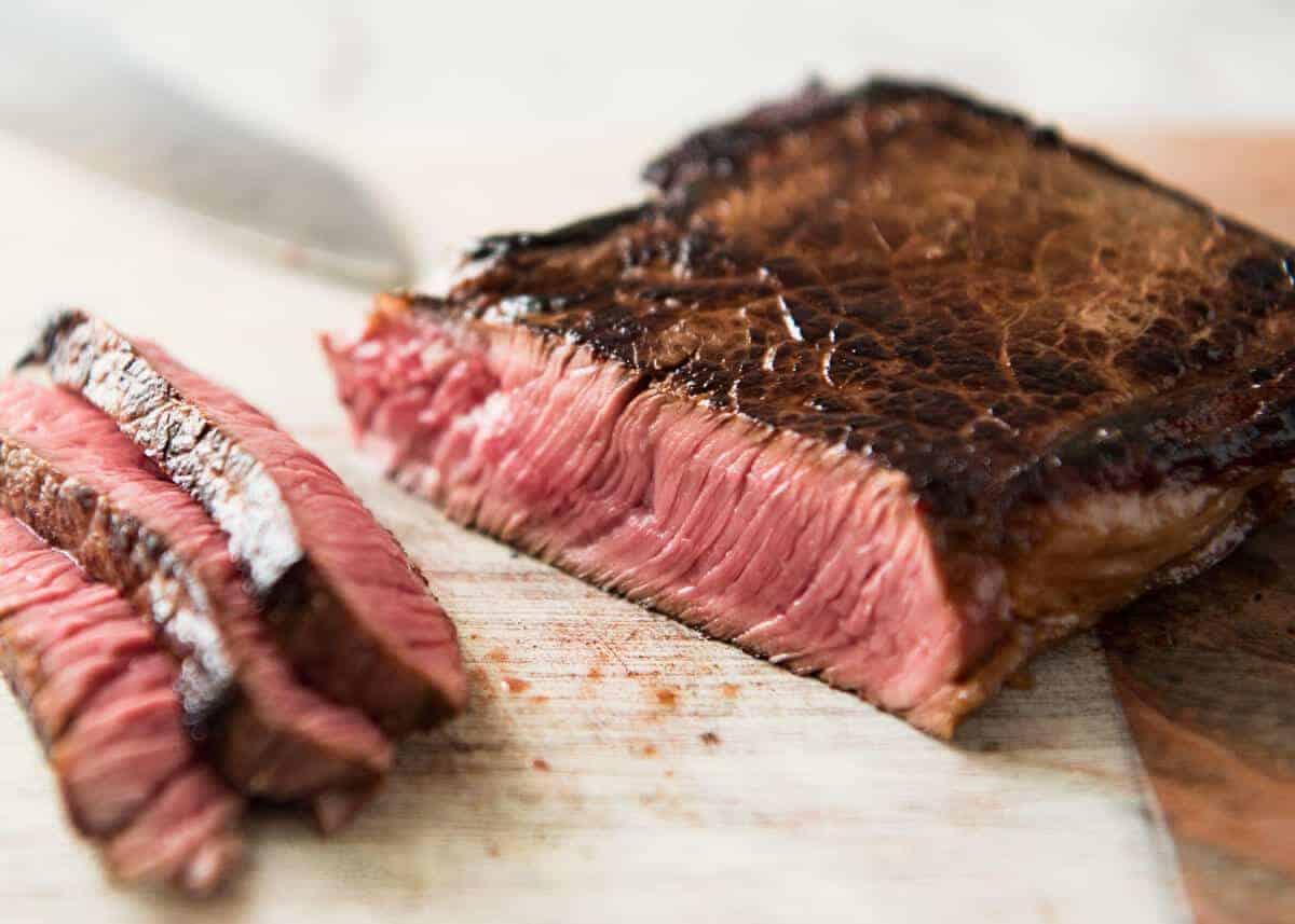Medium-rare sliced beef for Beef Soba Noodles