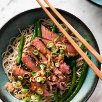 Beef Soba Noodles with chopsticks