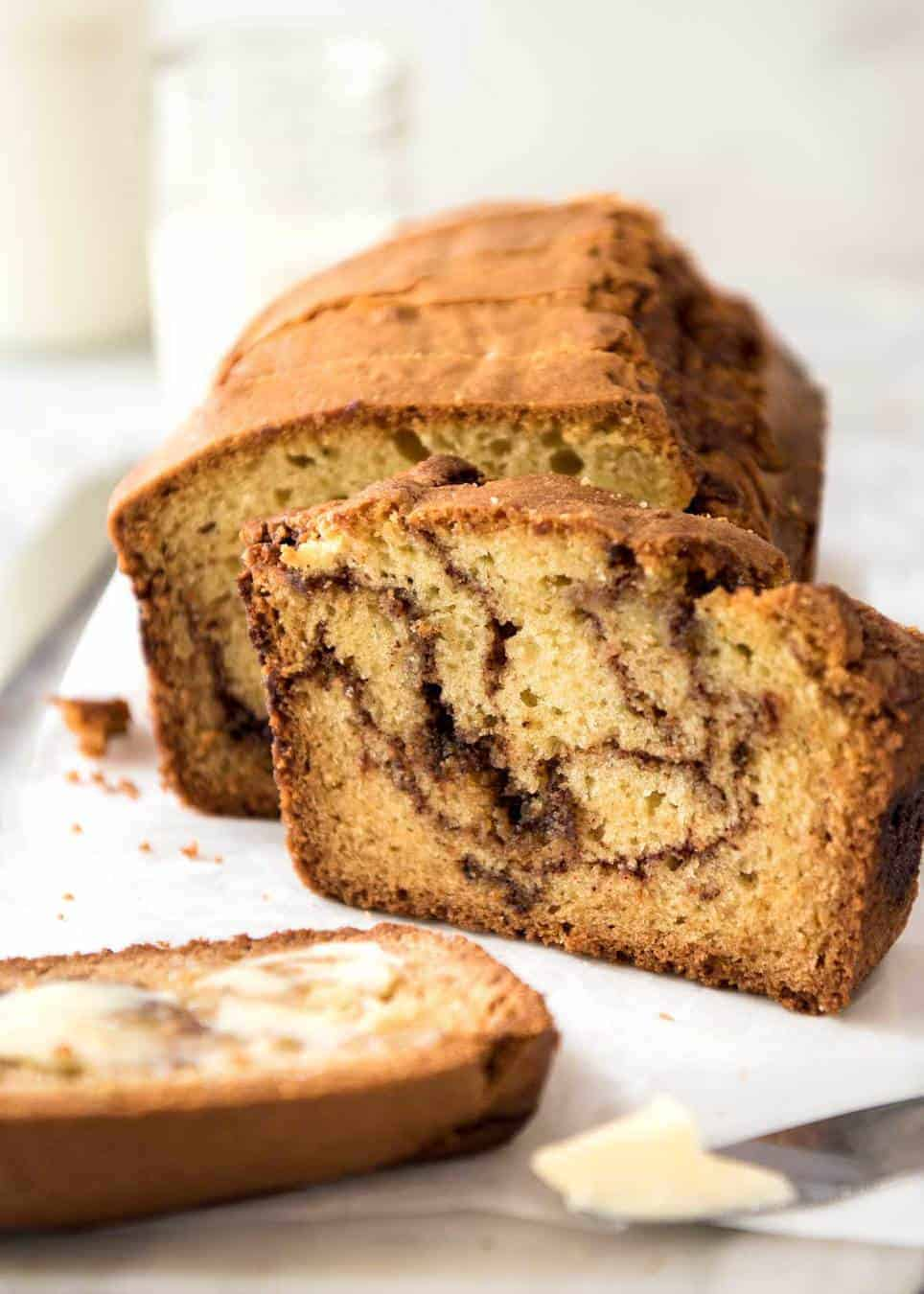 Sliced Easy Cinnamon Bread - Super easy to make, very forgiving, it's a quick homemade version of your favourite cinnamon bread! recipetineats.com