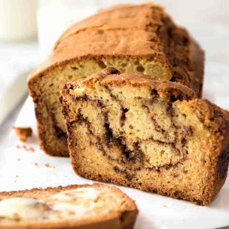 Easy Cinnamon Swirl Quick Bread - Super easy to make, very forgiving, it's a quick homemade version of your favourite cinnamon bread! www.recipetineats.com