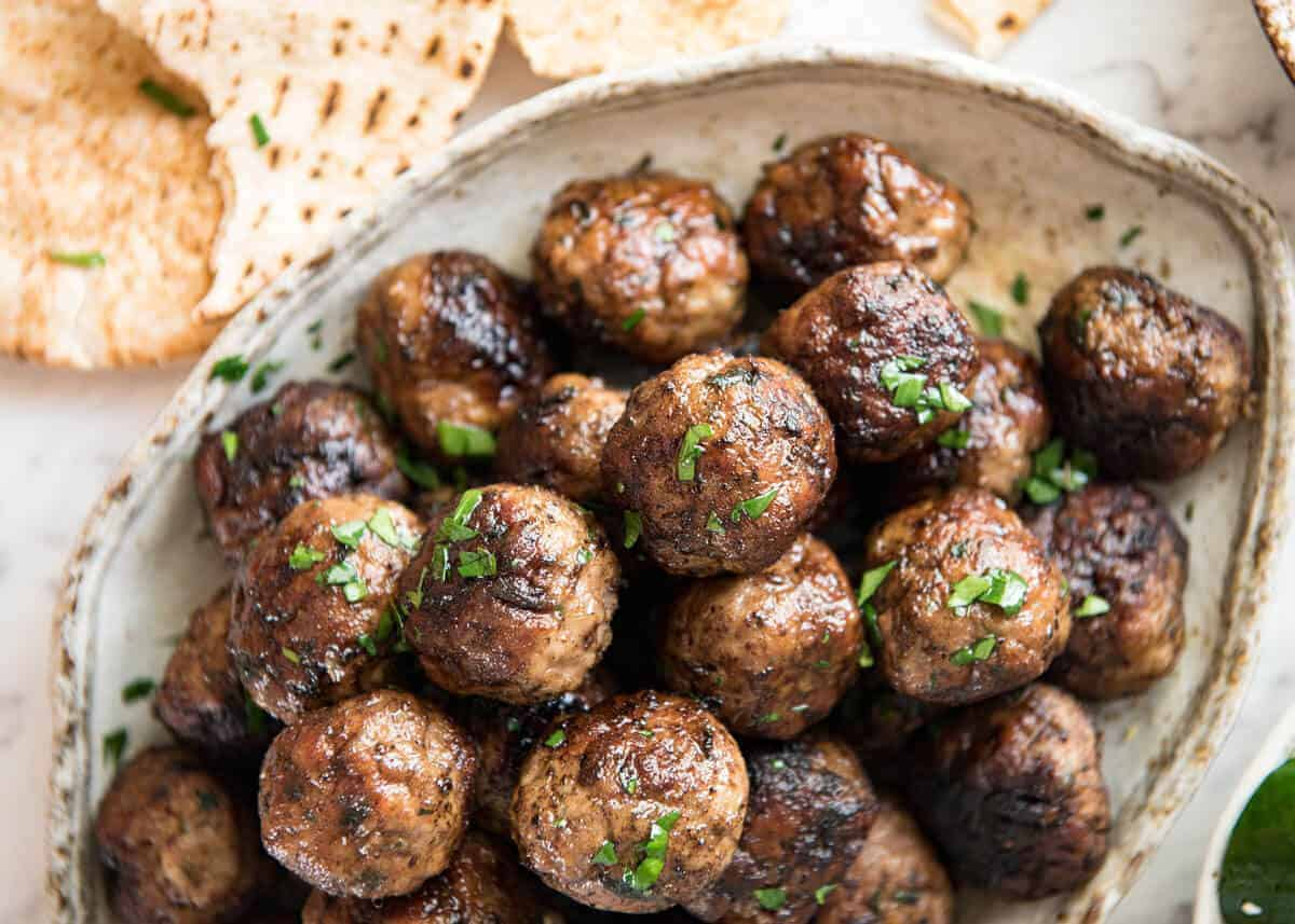 Greek meatballs keftedes recipetin eats soft juicy beautifully flavoured greek meatballs serve as an appetiser with tzatziki forumfinder Gallery