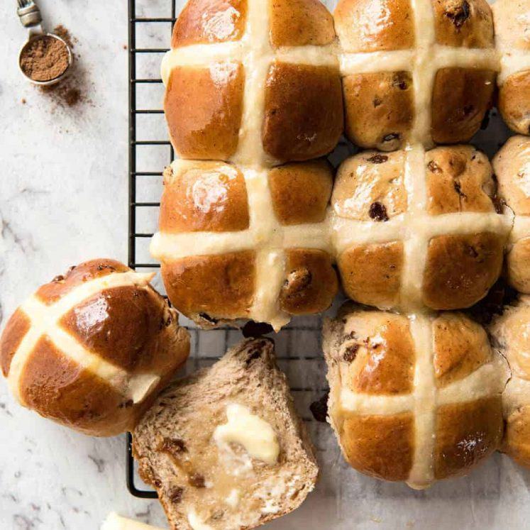 Easy Hot Cross Buns Recipe - perfectly spiced, fluffy and moist, with a no knead, no stand mixer option! www.reciptineats.com