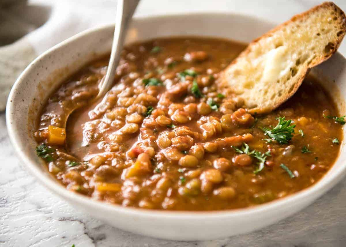 Why settle for a bland Lentil Soup when you make a standout one? Just a hint of spices and finishing it off with lemon zest makes all the difference! recipetineats.com