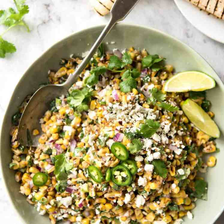 Mexican Corn Salad - Inspired by the famous Mexican street corn, this is a terrific way to use corn for an irresistible side! recipetineats.com