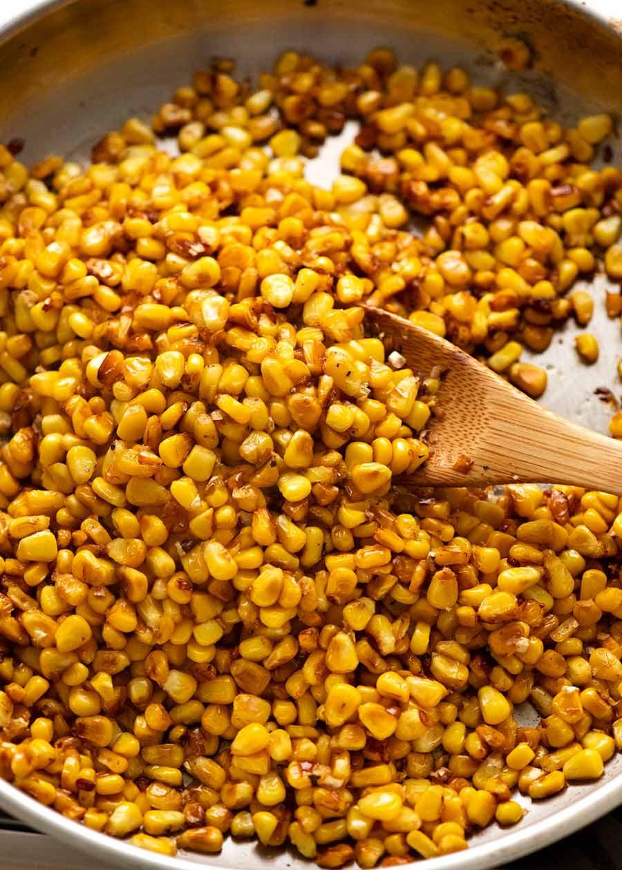 Pan fried golden corn