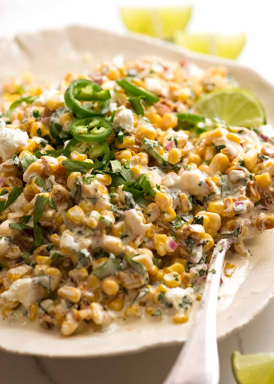 Mexican Corn Salad on a plate ready to be served