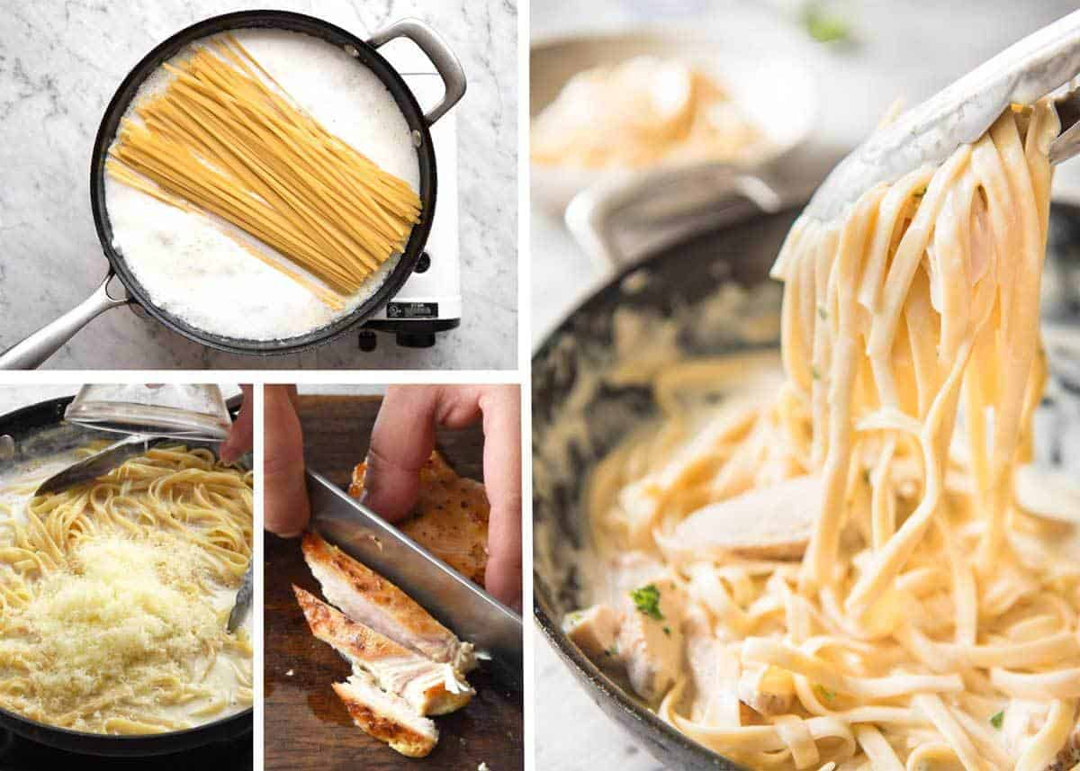 Silky creamy sauce and perfectly cooked pasta, this is the best way to make a One Pot Chicken Alfredo Pasta. No more gluggy sauces and unevenly cooked pasta! www.recipetineats.com