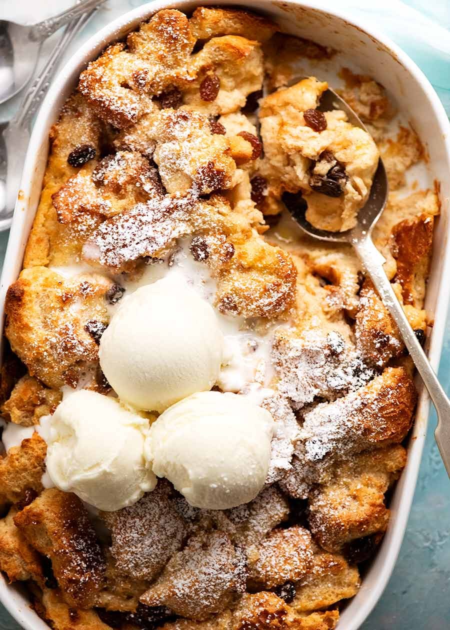 Bread and Butter Pudding with ice cream, fresh out of the oven ready to be served