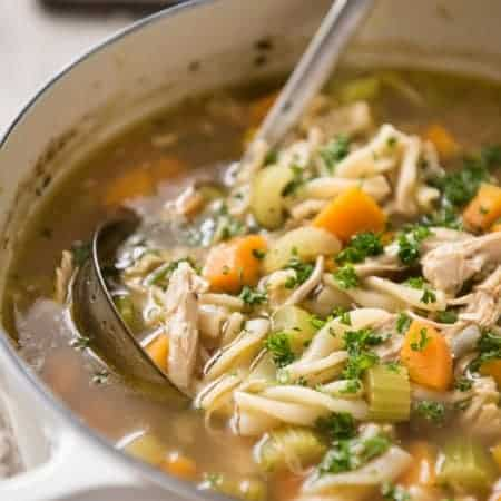 Homemade Chicken Noodle Soup made entirely from scratch, using a whole chicken to make the soup broth! www.recipetineats.com