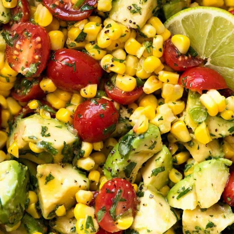 Close up of Corn Salad with Avocado with a Lime dressing