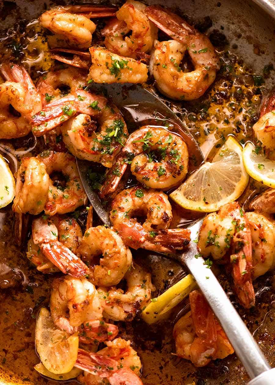 Pan filled with freshly cooked Garlic Prawns