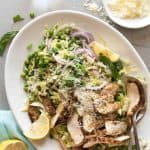 Lemon Parmesan Cabbage Salad with Grilled Chicken - A fabulous utterly addictive salad that you just can't stop eating! www.recipetineats.com