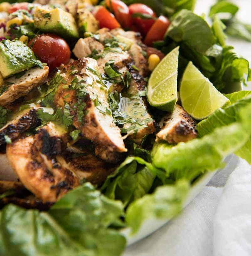 Close up of chicken for Mexican Chicken Salad