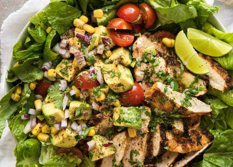 Overhead photo of Mexican Chicken Salad, ready to be eaten