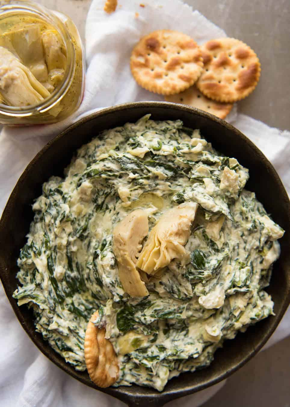 The most popular dip at any party - Spinach and Artichoke Dip! Super quick to make. www.recipetineats.com