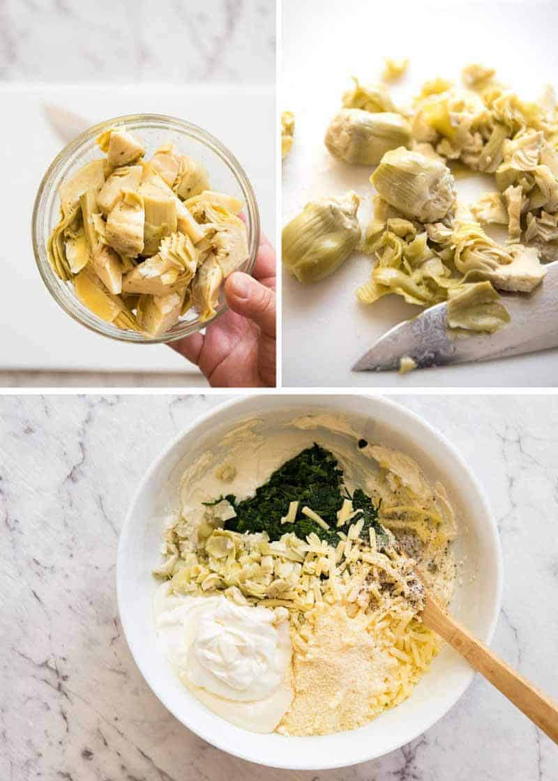 Preparation steps for Spinach Artichoke Dip