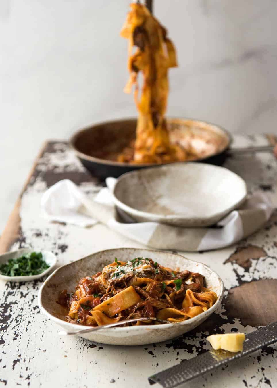 Rich Slow Cooked Shredded Beef Ragu Sauce With Pappardelle Pasta Stunning Italian Fort Food