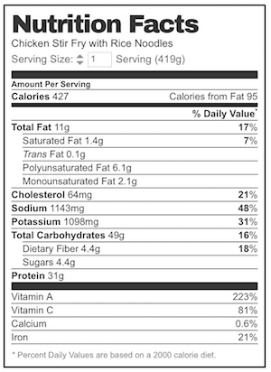 Rice sticks nutrition
