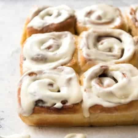 Magic No Knead Cinnamon Rolls - soft and fluffy with a cream cheese glaze! www.recipetineats.com