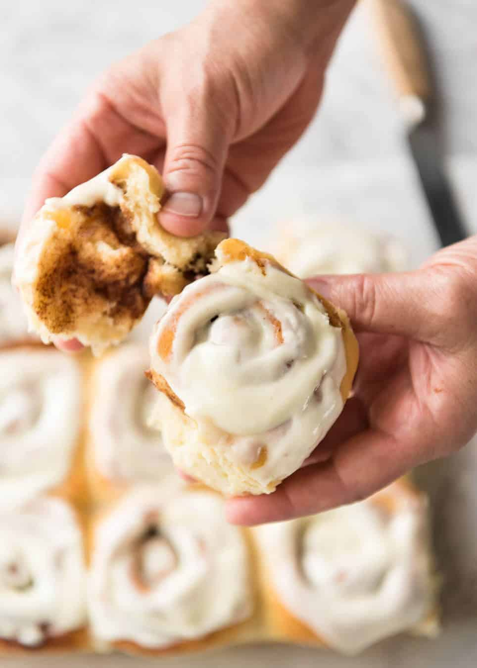 Magic No Knead Cinnamon Rolls - soft and fluffy with a cream cheese glaze! www.recipetineats.com