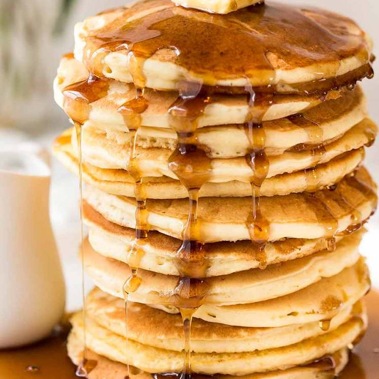 Stack of the best easy soft, fluffy pancakes