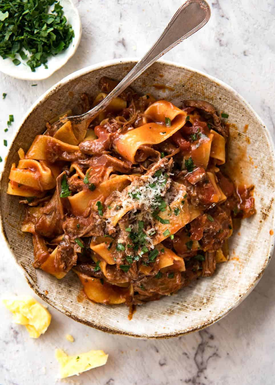 Slow Cooked Shredded Beef Ragu Pasta | RecipeTin Eats