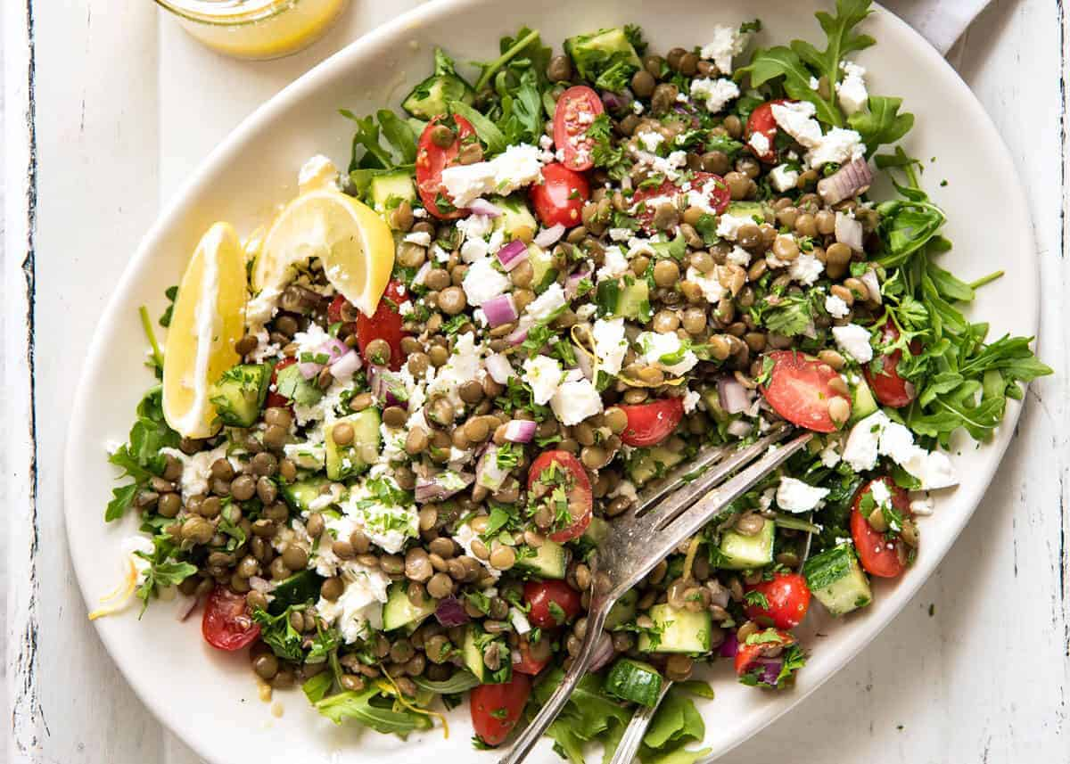 Can't-Stop-Eating-It Lentil Salad! Secret: Cook lentils in a simple flavoured broth or marinated canned lentils. www.recipetineats.com