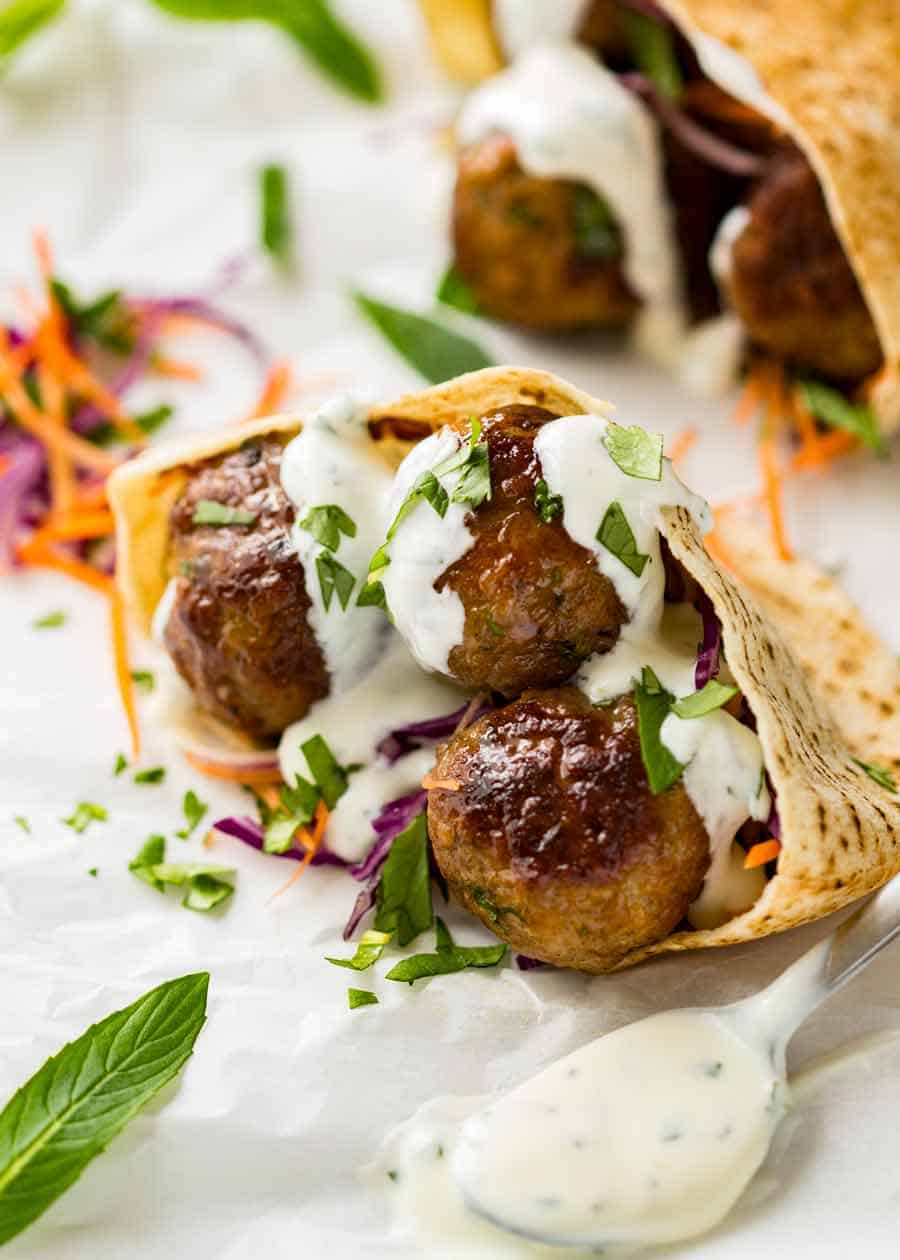 Moroccan Lamb Meatballs in a pita drizzled with yogurt mint sauce