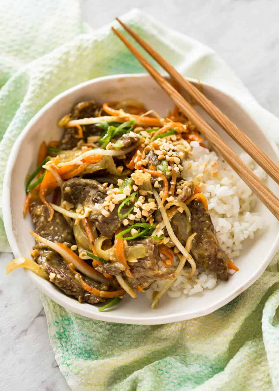 This Satay Peanut Stir Fry is almost too good to be true - it's SO FAST and SO EASY and tastes incredible! www.recipetineats.com