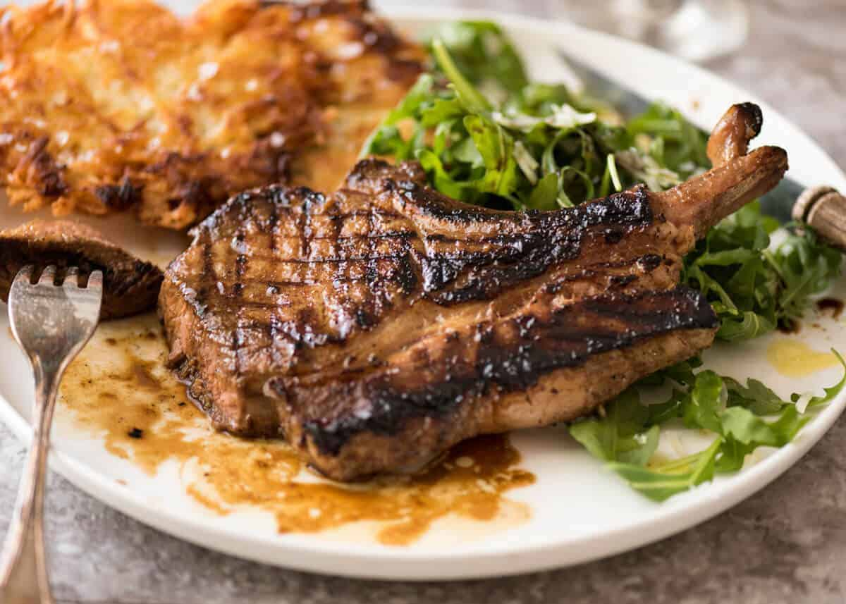A GREAT marinade for pork chops - makes them extra juicy, infuses with savoury flavour and a touch of sweet that caramelises beautifully. www.recipetineats.com